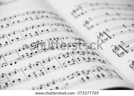closeup of sheet music. musical ...