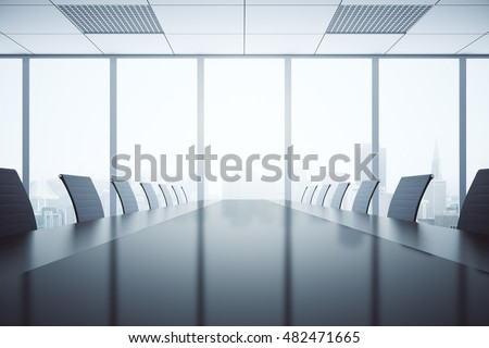 Closeup of shiny dark table and chairs in conferece room interior with city view and daylight. 3D Rendering