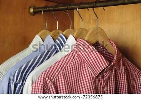 closeup of  shirts hanging