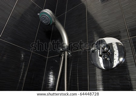 closeup of shower and faucet in the bathroom