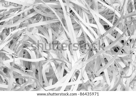 Closeup of shredded paper documents.