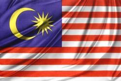 Closeup of silky Malaysian flag