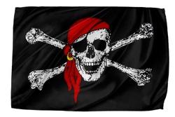 Closeup of silky Pirate flag