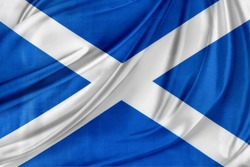 Closeup of silky Scottish flag