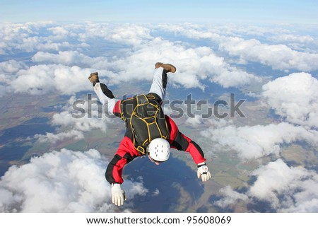 Closeup of skydiver in freefall
