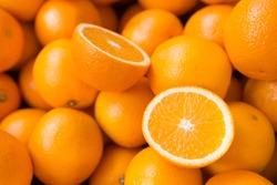Closeup of sliced oranges on a market