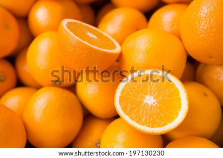 Shutterstock Closeup of sliced oranges on a market