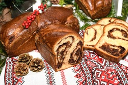 Closeup of slices of homemade traditional Romanian sweet bread named