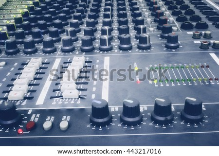 Closeup of slides audio mixer for DJ to use voice control. Photo Filter and Selective focus. #443217016