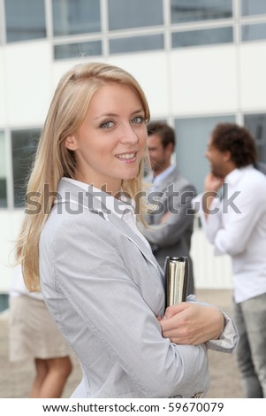 Closeup of smiling businesswoman