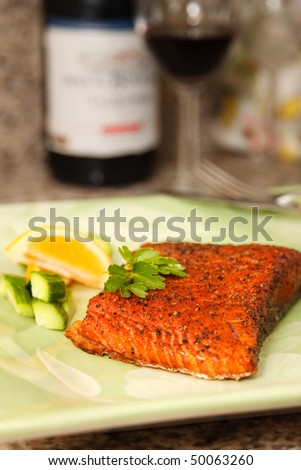 Closeup of Smoked Salmon Steak Dish