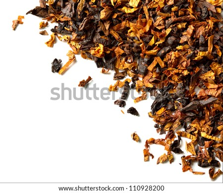 Closeup of smoking tobacco. Isolated on white