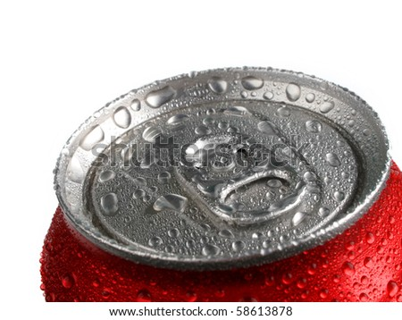 Closeup of soda or pop can with drops of water for fresshness
