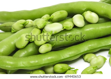 closeup of some broad bean pods and beans