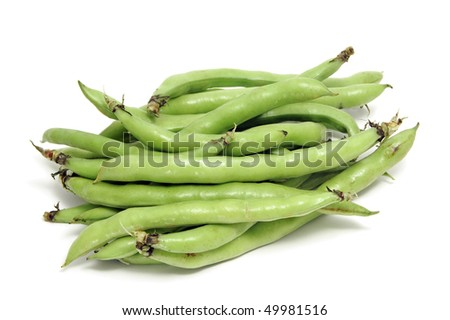 closeup of some broad bean pods with the beans inside