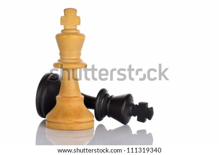 Closeup of some chess figures on white background - stock photo