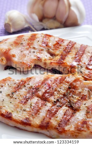 closeup of some grilled slices of chicken meat on a white plate