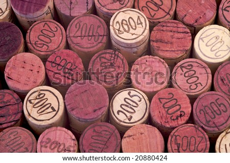 Closeup of some red wine corks