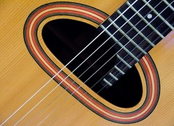 Closeup  of sound hole of a guitar