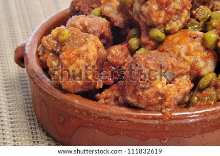 closeup of spanish meatballs tapas