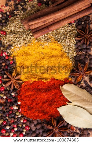 Closeup of spices composition, anise, cinnamon, paprica, curry, pepper
