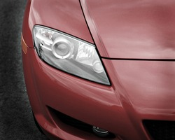 closeup of sports car headlight