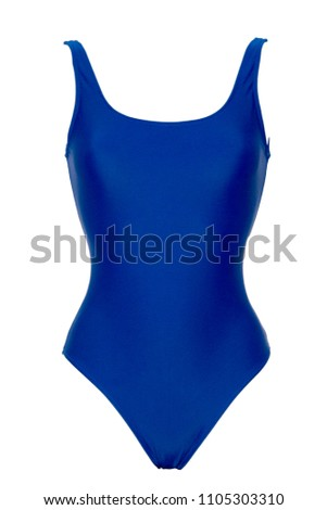 Closeup of sporty blue one piece swimsuit isolated on white background #1105303310