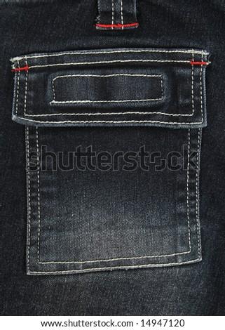 Closeup of square black denim jeans pocket.