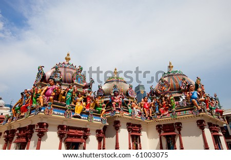 Closeup of Sri Mariamman Hindu Temple in Singapore