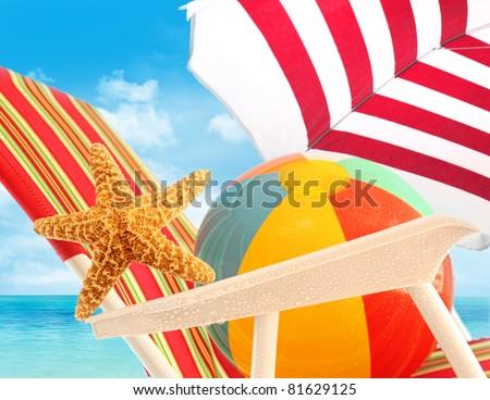 Closeup of starfish on sun chair at the beach