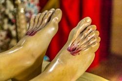closeup of statue of Jesus Christ, , stigmata in feet