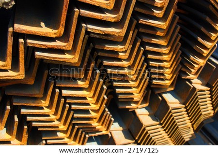 Closeup of steel angles bunch in warehouse