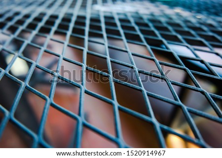 Closeup​ of​ Steel grating table.