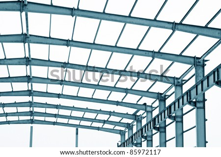 closeup of steel structure framework in a factory