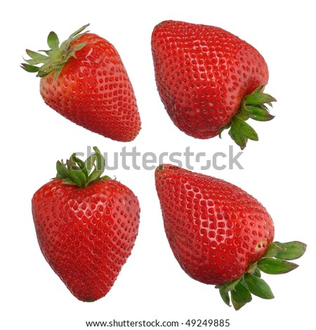 Closeup of strawberries isolated on white background