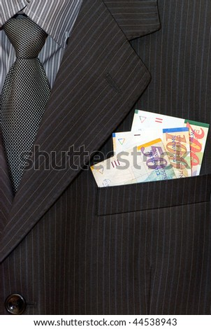closeup of striped male suit with shekels in a pocket - stock photo
