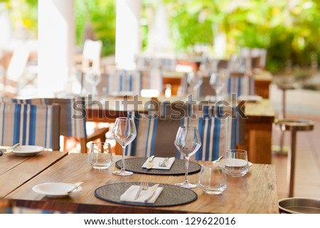 closeup of table setting in casual restaurant