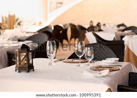 closeup of table setting in the casual restaurant