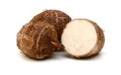 Closeup of taro on white background