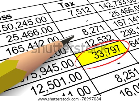 Closeup of tax deduction figures with large amount highlighted and circled.