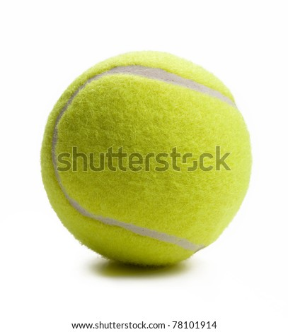 Closeup of tennis ball isolated on white background.
