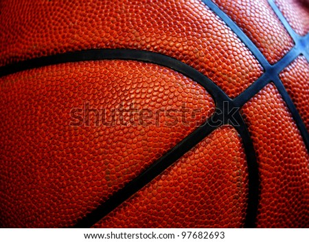 Closeup of texture on old worn leather basketball