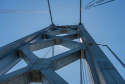 Closeup of the Bay Bridge tower in San Francisco from below, Northern California