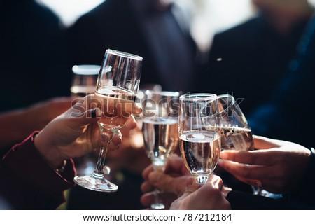 Closeup of the champaign glasses