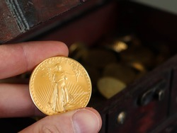 Closeup of the famous 1oz 50 Dollars Gold American Eagle bullion collection coin. Year 1987