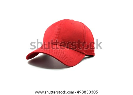 Closeup of the fashion red cap isolated on white background.
