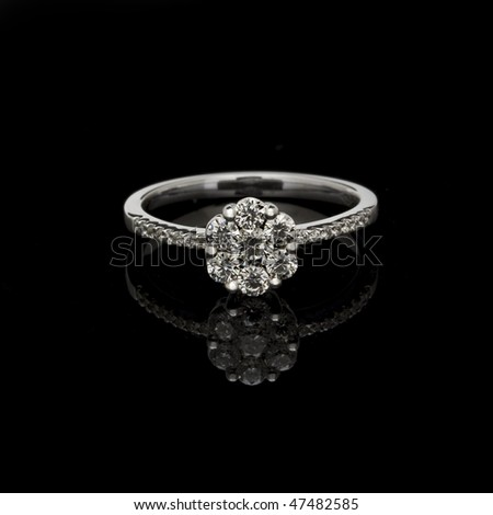 Closeup of the fashion ring focus on diamonds