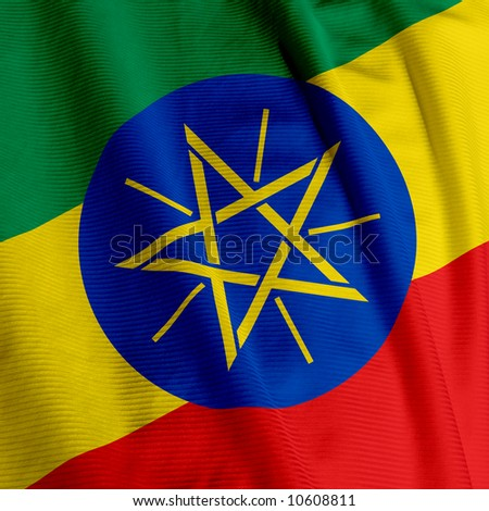 Closeup of the flag of Ethiopia, square image