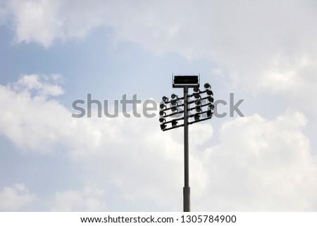 Closeup of the floodlights on sport stadium #1305784900