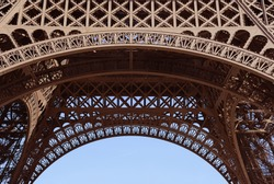 Closeup of the framework of the Eiffel Tower in Paris, France.